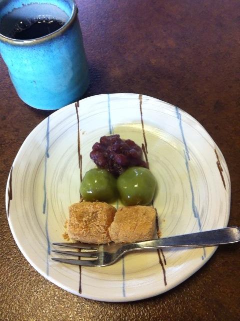 わらび餅と大和茶団子
